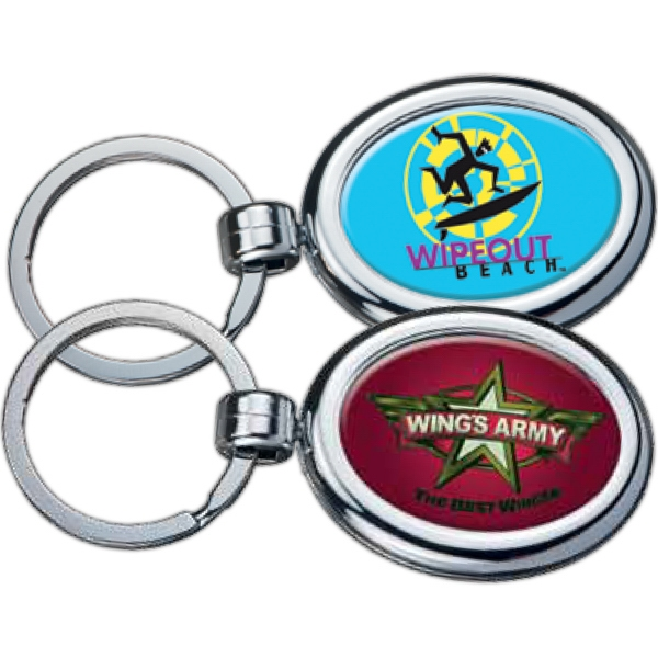 Oval - Two-sided Chrome Plated Domed Key Tag Photo
