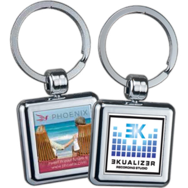 Square - Two-sided Chrome Plated Domed Key Tag Photo
