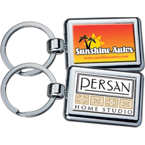 Rectangle - Two-sided Chrome Plated Domed Key Tag Photo