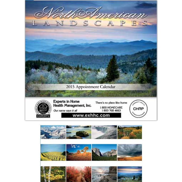 "Landscapes Of North America - Spiral Bound Wall Calendar. 10 1/2"" W X 17"" H (open), 9 1/2"" H (closed) Photo"