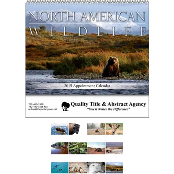 "North American Wildlife - Stapled Wall Calendar. 10 1/2"" W X 17"" H (open), 9 1/2"" H (closed) Photo"