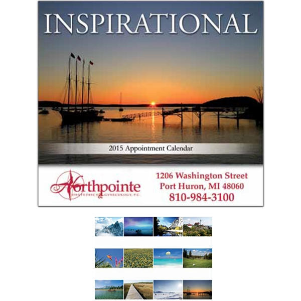 "Inspirational - Spiral Bound Wall Calendar. 10 1/2"" W X 17"" H (open), 9 1/2"" H (closed) Photo"