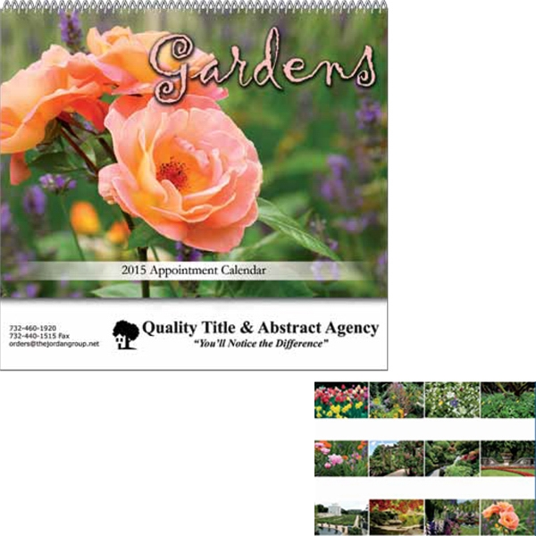 "Gardens - Stapled Wall Calendar. 10 1/2"" W X 17"" H (open), 9 1/2"" H (closed) Photo"