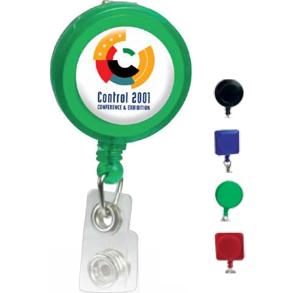 Round Shaped Retractable Badge Holder With Full Color Process Domed Print Photo