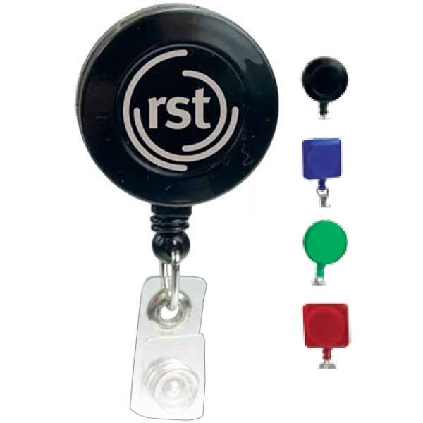 Round Shaped Retractable Badge Holder With Pad Print Imprint Photo