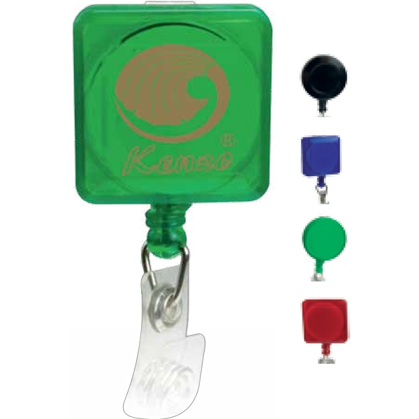 Square Shaped Retractable Badge Holder With Pad Print Imprint Photo