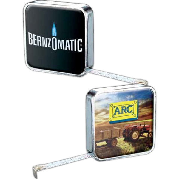 "Chrome Metal Case 72"" Tape Measure With Two-sided Full Color Process Domed Imprint Photo"
