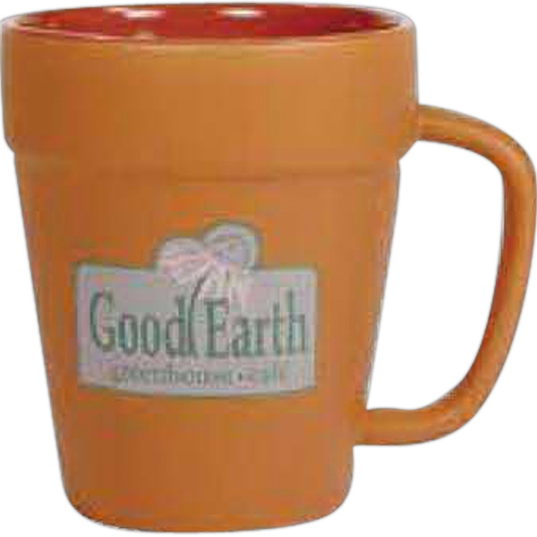 Flower Pot - Terra Cotta Matte Color 14 Oz Ceramic Flower Pot Mug Photo