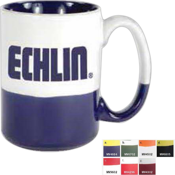 White-cobalt - 13 1/2 Oz Ceramic Mug With Bottom And Interior Accent Color Photo