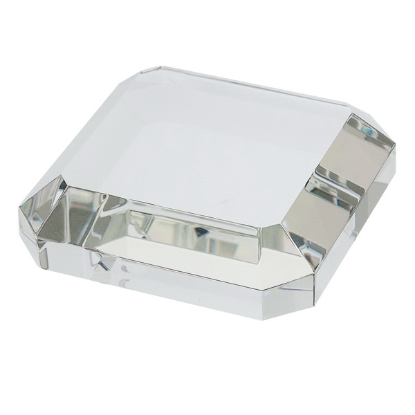 Square Crystal Paperweight - Optical crystal paperweight in square shape.