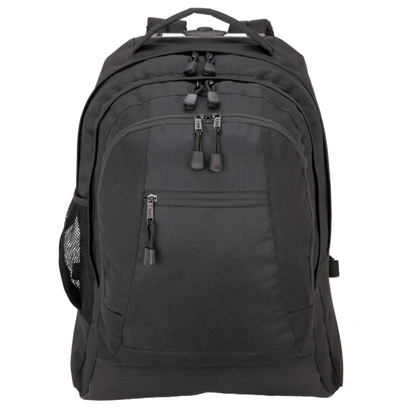 Executive Rolling Backpack - Rolling backpack with telescopic handle, padded main compartment with laptop pocket.