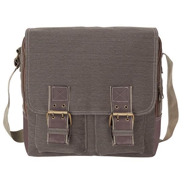 Messenger bag - Cotton canvas messenger bag with front flap adjustable magnetic snaps.