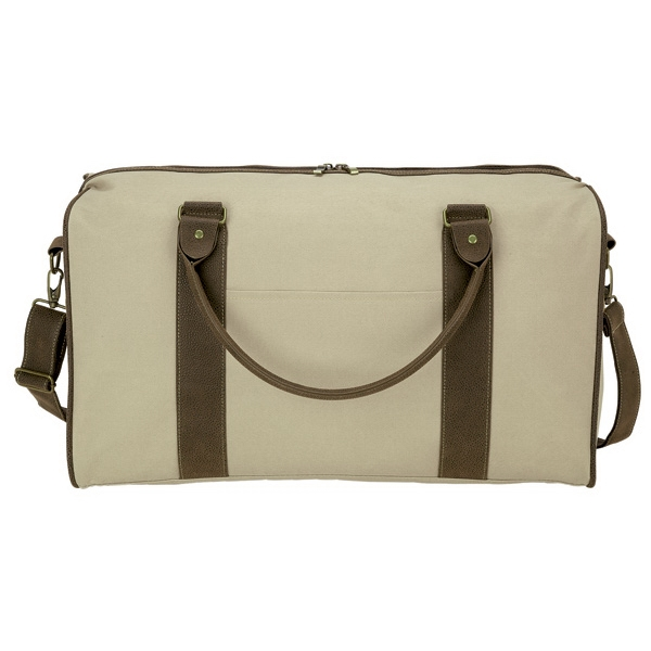 "Rustic Duffel - Durable duffel bag 22"" tube handles, removable shoulder strap and front pocket."