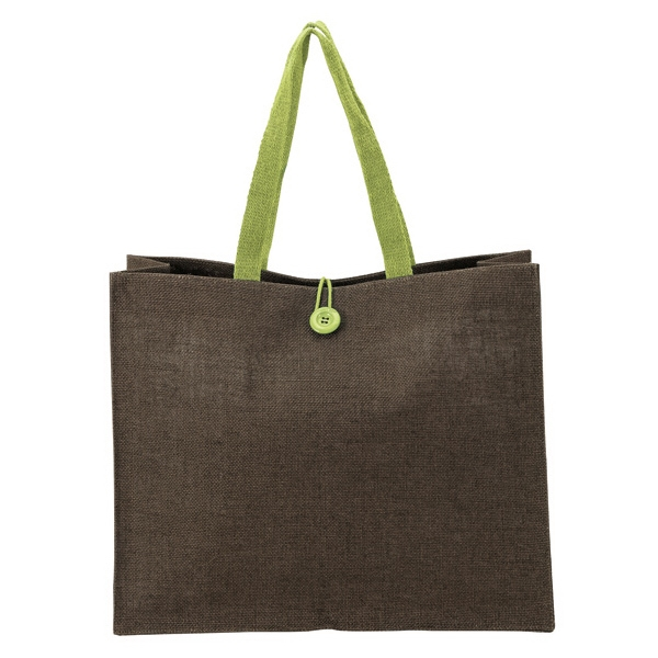 Natural Jute Tote - Natural jute tote with colored handles and matching button and loop closure.