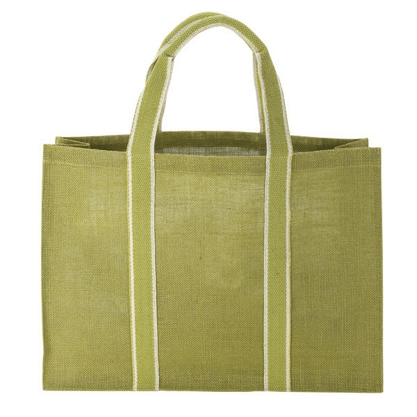 "Natural Jute Tote - Sustainable fabric natural jute tote, 19"" x 14"" x 5""."