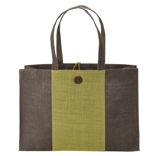 Natural Jute Tote - Two-tone design natural jute tote with wood button and loop closure.