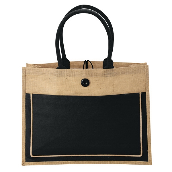 Natural Jute Tote - Sustainable fabric two-tone design natural jute tote.