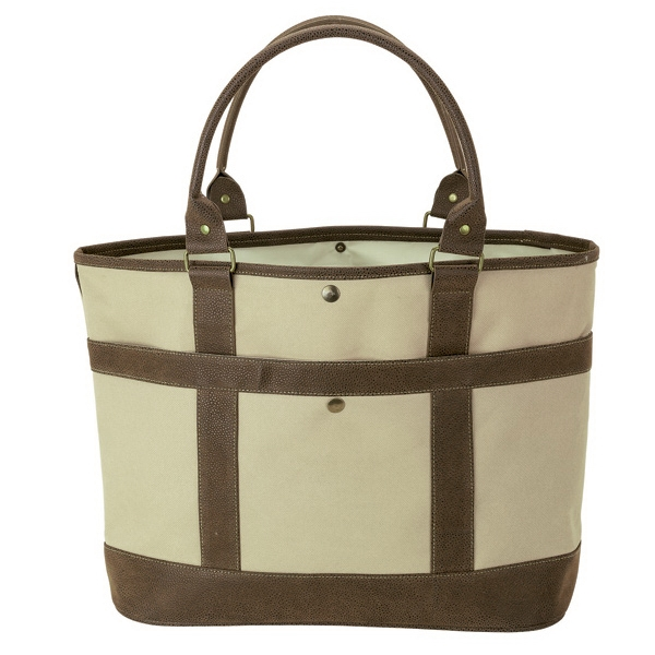 "Rustic Tote - Durable tote bag with 24"" tube handles and snap closure with front pocket."