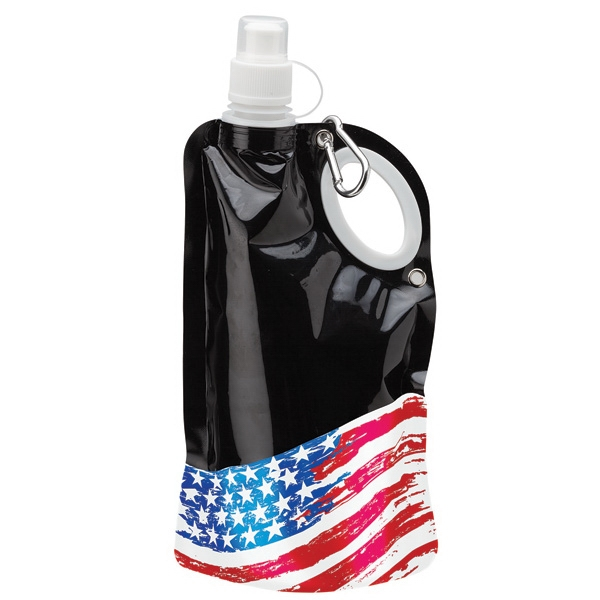 25 oz PE Water Bottle - Flag roll-up water bottle with integrated carry handle and carabiner, BPA-Free.