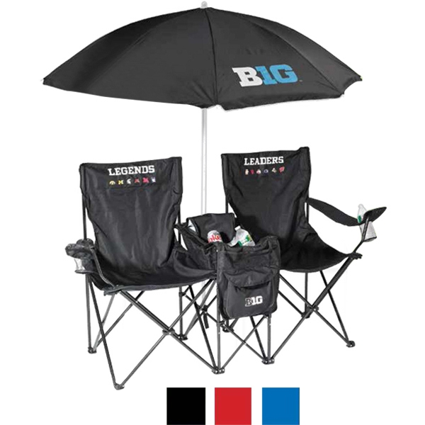 The Music Vacation Chair - Double chair featuring a cooler, beach umbrella and two water resistant speaker.