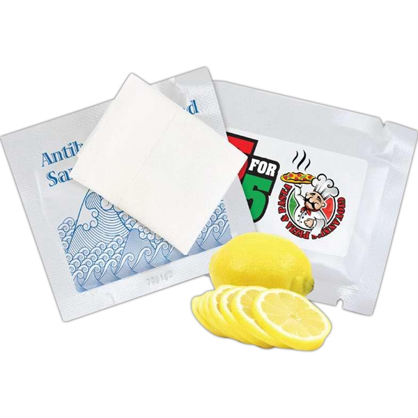Sanitary Wet Wipe Singles With A Custom Imprint Photo