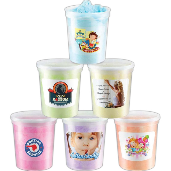 Cotton Candy Made Fresh To Order. Packed In A Clear Reusable Plastic Container Photo