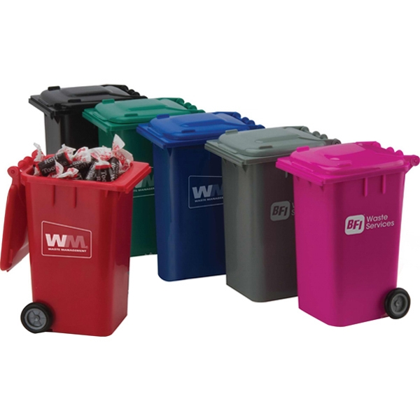 A Fills - Garbage Can Candy Container With Rotating Wheels. Many Fills Available Photo