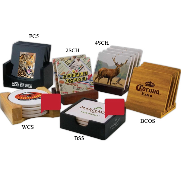 Glass Picture Coaster Set Includes 4 Coasters And Stand, Photo