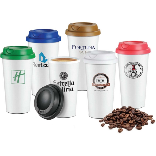 To Go 16 Oz. Coffee Cup Comes With Screw-on Drink Through Lid Photo