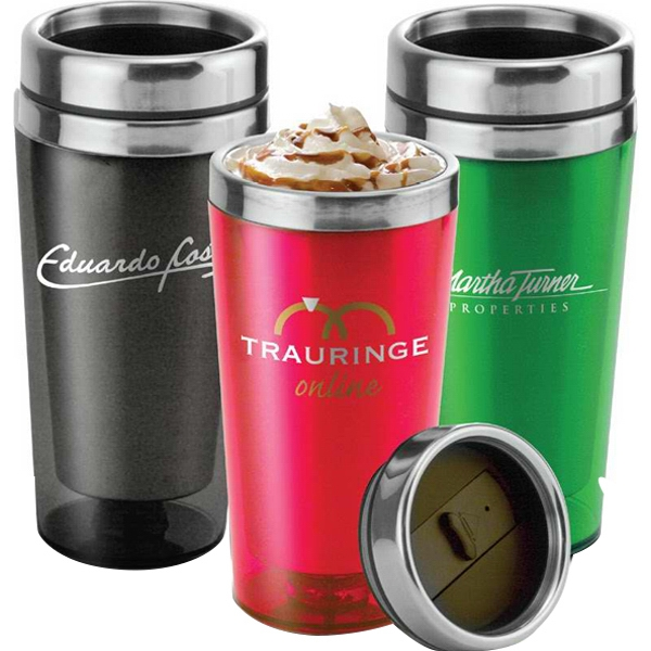 Translucent Stainless Tumbler, 16 Oz. With Push-on Stainless Spill Resistant Lid Photo