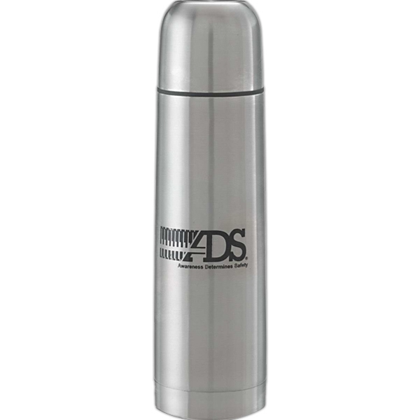 Bullet Shaped Vacuum Sealed 24 Oz. Thermos With Push Button Release Photo