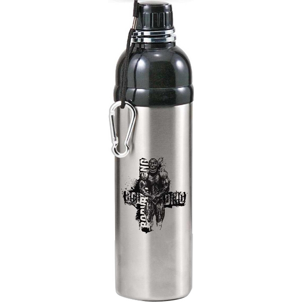 Stainless Water Bottle With Screw On Drink-thru Cap And Attached Carabiner, 25 Oz Photo