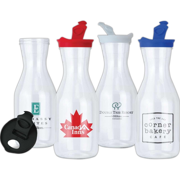 Clear 36 Oz. Plastic Carafe With Colored Flip-open Screw-on Lid Photo
