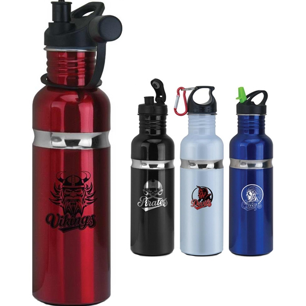 Stainless Steel Water Bottle, 24oz. With A Twist Off Loop Cap And Attached Carabiner Photo
