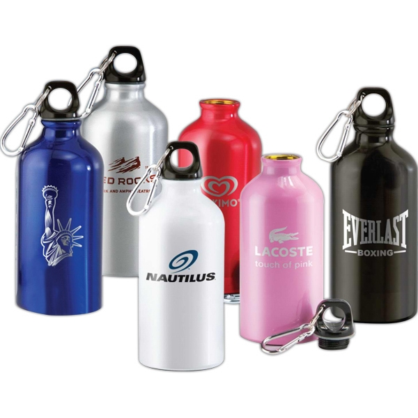 16 Oz Aluminum Bottle With Twist On Cap With Carabiner Attached To A Split Key Ring Photo