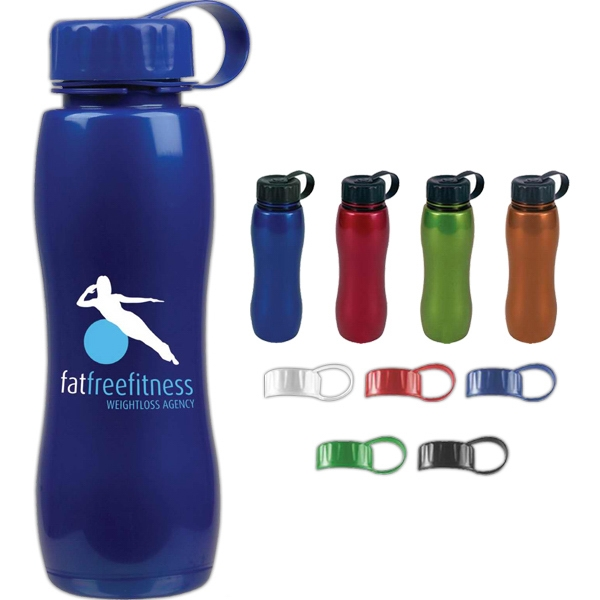 Personal Refillables (tm) - Slim Grip Metallic Looking 25 Oz. Bottle, Bpa Free, With Dishwasher Safe Polyester Photo