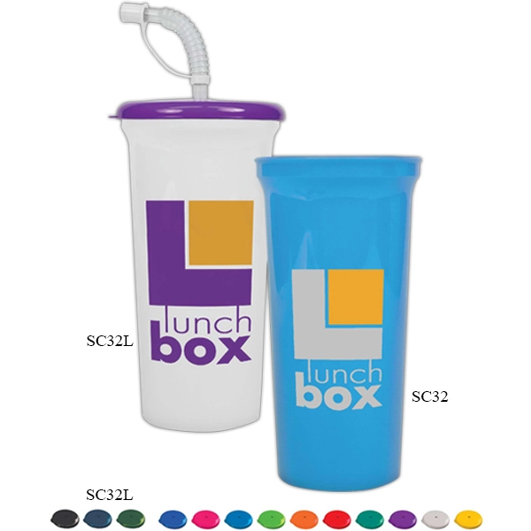 Recycled Color 32 Oz. Cup With Lid And Straw, Reusable And Recyclable Polypropylene Photo