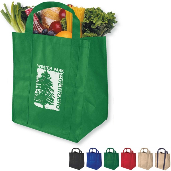 "Non-woven Polypropylene Grocery Tote Bag, 12"" Wide, 14"" H, And 8"" Deep Photo"