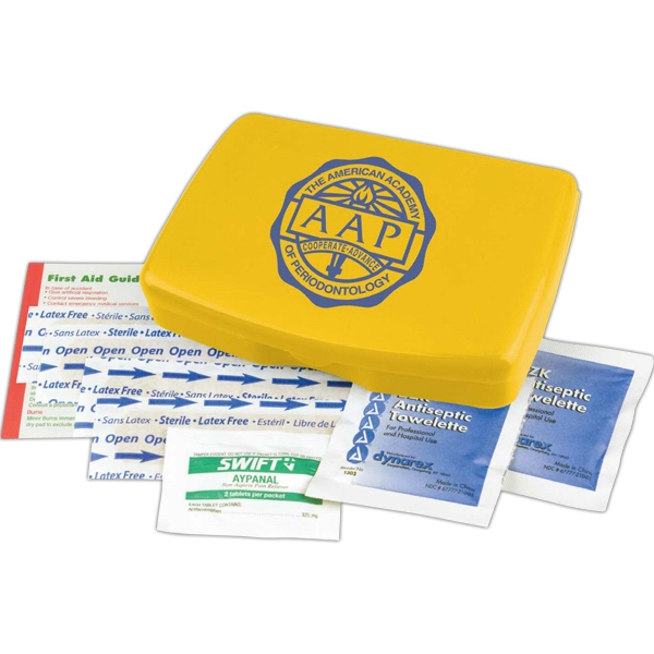 First Aid Kit In A Durable Living Hinge Box With Non-aspirin Pain Reliever And More Photo