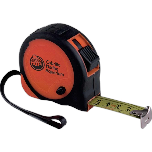 "16'/5m Tape Measure With Black Rubber Grip, Metal Belt Clip And 3 1/2"" Strap Photo"