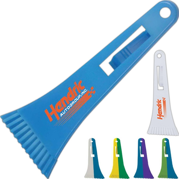 """9"""" Cool Color Change Ice Scrapper with Visor Clip - 9"""" Cool Color Change Ice Scrapper with Visor Clip."""