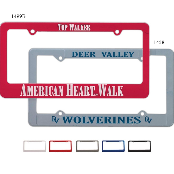 Economy Four Hole License Plate Frame With Raised Imprint Panels Photo
