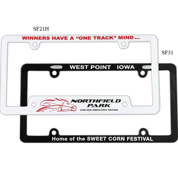 White Full View License Plate Frame With 4-holes Is Designed To Fit Most Cars Photo