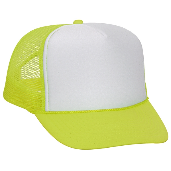 Neon Polyester Foam Five Panel Golf Style Cap With Mesh Back And High Crown. Blank Photo
