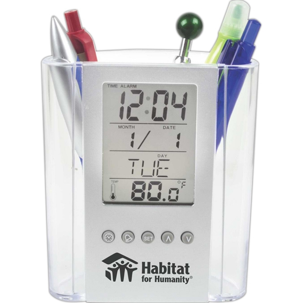 Clear Pen Cup With Digital Alarm Clock And Thermometer Photo