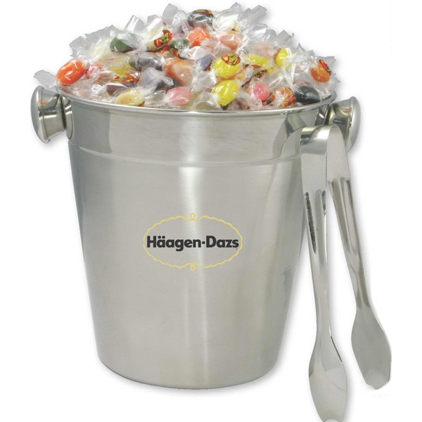 Stainless Steel Ice Bucket With Tongs Filled With Jelly Beans Photo