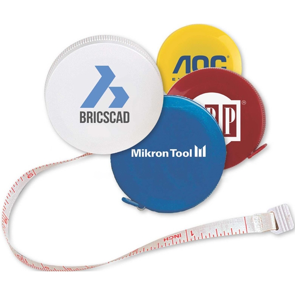 Round Tape Measure With Safety Release Button Photo