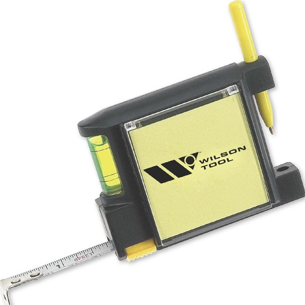 Tape measure with note pad, pen and level - Tape measure with note pad, pen and level.