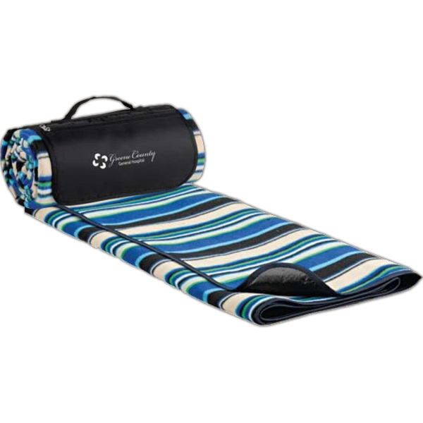 "Blue Stripe Polyester Picnic Blanket, 59"" X 53"" Photo"