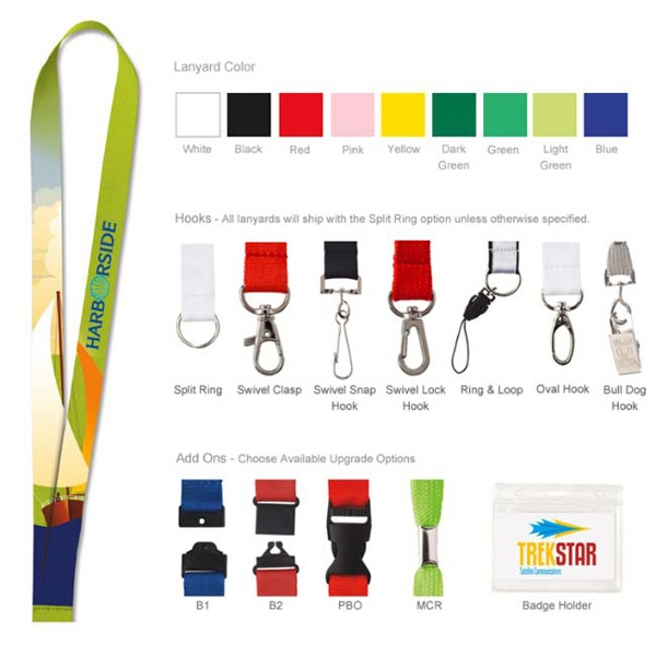 "5/8"" Polyester 4 Color Lanyard"